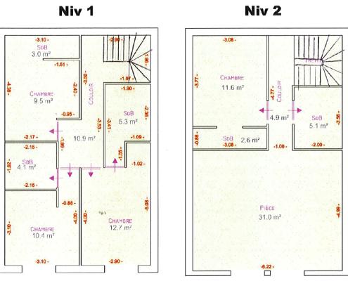 Plan de l'appartement le chalet niveau 1 et 2